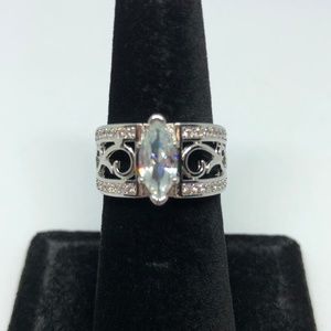 Jewelry - White Sapphire Stamped 925 SS Ring Size 6